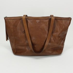 Fossil Issue 1954 Tan Leather Tote Bag Purse